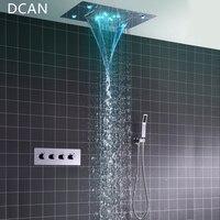 DCAN Tavan Montaj Kare Sabit Yağış Duş Başlığı ile 3 Yollu Termostat Banyo Duş Musluk Krom El Duş Sistemi