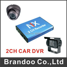 2 channel CAR DVR kit, including 1pcs 2 channel CAR DVR, 1pcs dome camera and 1pcs waterproof rear camera,2pcs 5 meters cable .