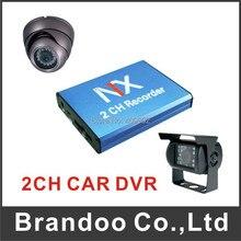 2 channel CAR DVR kit, including 1pcs 2 channel CAR DVR, 1pcs dome camera and 1pcs waterproof rear camera,2pcs 5 meters cable .