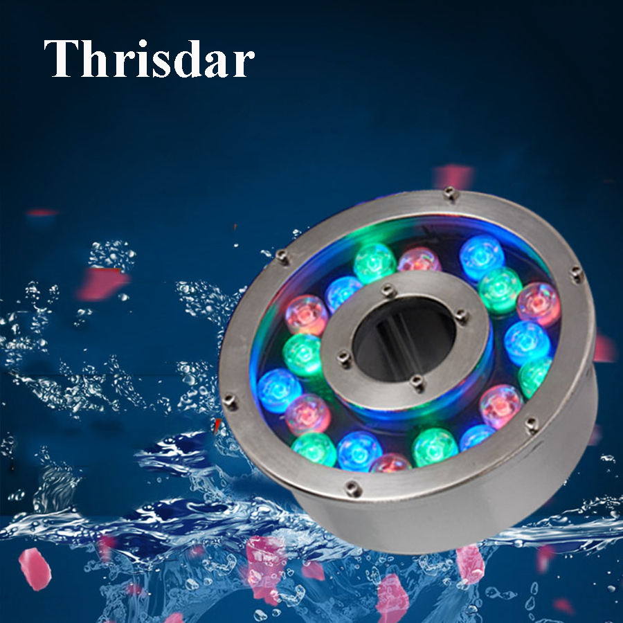 Thrisdar 12W 18W 24W Aluminum LED Fountain Light IP68 Multicolor Underwater Swimming Pool light AC24V Pond Lake Aquarium Light