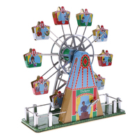 Colorful Retro Wind up Spinning Ferris Wheel with Music Movement Clockwork Metal Tin Toy Collectible Kids Child Birthday Gift