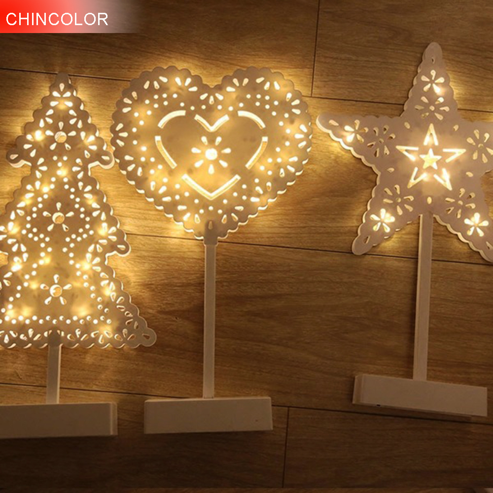 Cute LED Night light Christmas Tree Love Star Shape Battery Operated Holiday lights christmas fairy Perfect For kids Bedroom DA