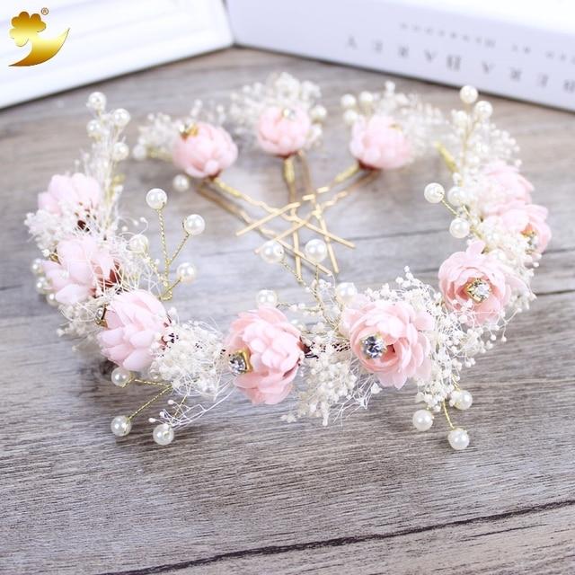 Fashion Preserved Flowers Headband Pearl Jewelry Tiara Women Crown ...