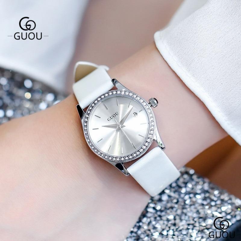 GUOU Élégant Dames Montre Étanche Bracelet En Cuir Quartz Femmes Montre-Bracelet Blanc Petit Cadran De Luxe Strass Femmes Montres 6012
