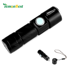 Portable Mini USB Rechargeable 350LM LED Flashlight Outdoor Travel Focus Adjustable Strong light Torch 3-Mode with Strap