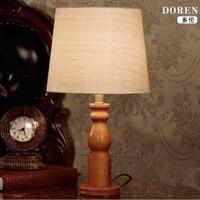 Современные Европа Классическая Оригинальный деревянный ткань светодио дный E27 Настольная лампа для Гостиная Спальня исследования Декор H