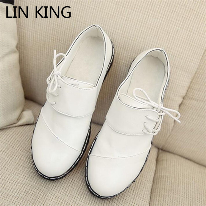 LIN KING Comfortable Solid Square Heel Women Pumps Fashion Lace Up Leather Platform Shoes Shallow Mouth Round Toe Single Shoes lin king fashion pearl pointed toe women flats shoes new arrive flock casual ladies shoes comfortable shallow mouth single shoes