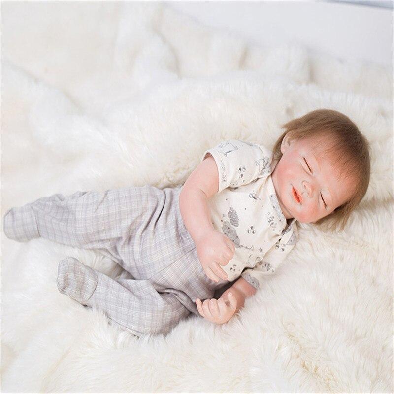 Здесь продается  SanyDoll 19 inch 48 cm Silicone baby reborn dolls, lifelike doll reborn sleeping baby birthday gift  Игрушки и Хобби