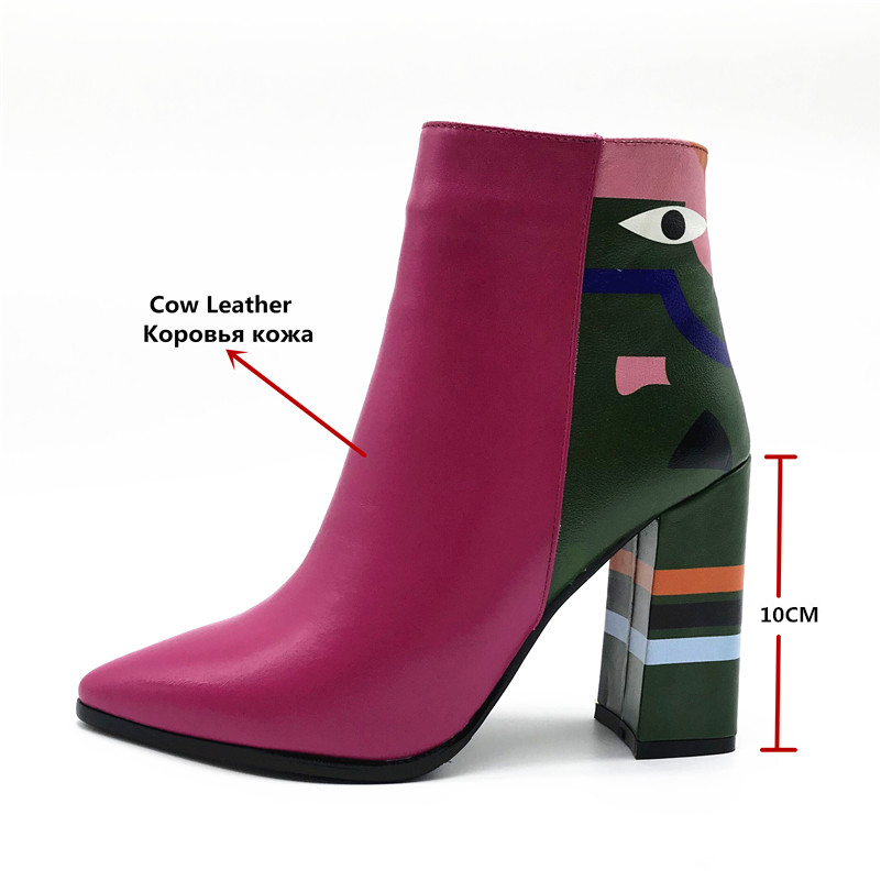 2019 Fashion Brand, Women's Ankle Boots, Print High Heels Martin Shoes, Women's Pumps Basic Leather Boots 10