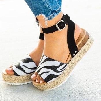 Roma 2019 Leopardo Zapatos Mujer Nuevas Punta Abierta Suela Correa Sandalias Hebilla Cuñas Informales De Tobillo O8k0wXnP