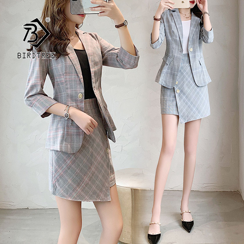 2019 Chic New Summer Women's Blazer Suit Fashion Plaid British Casual Temperament Style Irregular Design Hot Sale S96607D