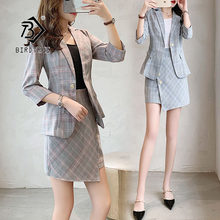 2019 Chic New Summer Women's Blazer Suit Fashion Plaid British Casual Temperament Style Irregular Design Hot Sale S96607D(China)