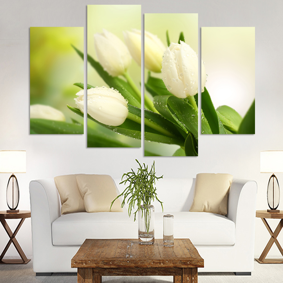 Online get cheap white tulip pictures aliexpress alibaba group 4 panel hot sell modern wall painting home decorative art picture paint on canvas prints the charming white tulip dhlflorist Image collections
