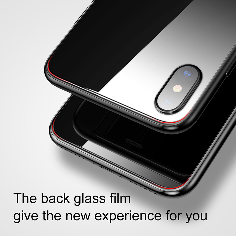 newest collection 1e2e5 1e90c US $7.13  Baseus Back Glass Battery Case For iPhone X Back Tempered Glass  Protector Door Housing Case Rear Glass For iPhone X Case Back-in Phone  Pouch ...
