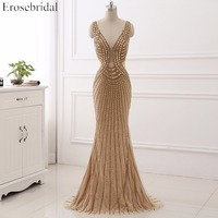 2017 Sexy V Neck Golden Beading Evening Dress Sleeveless Deep Backless Mermaid Evening Gown Party Dress
