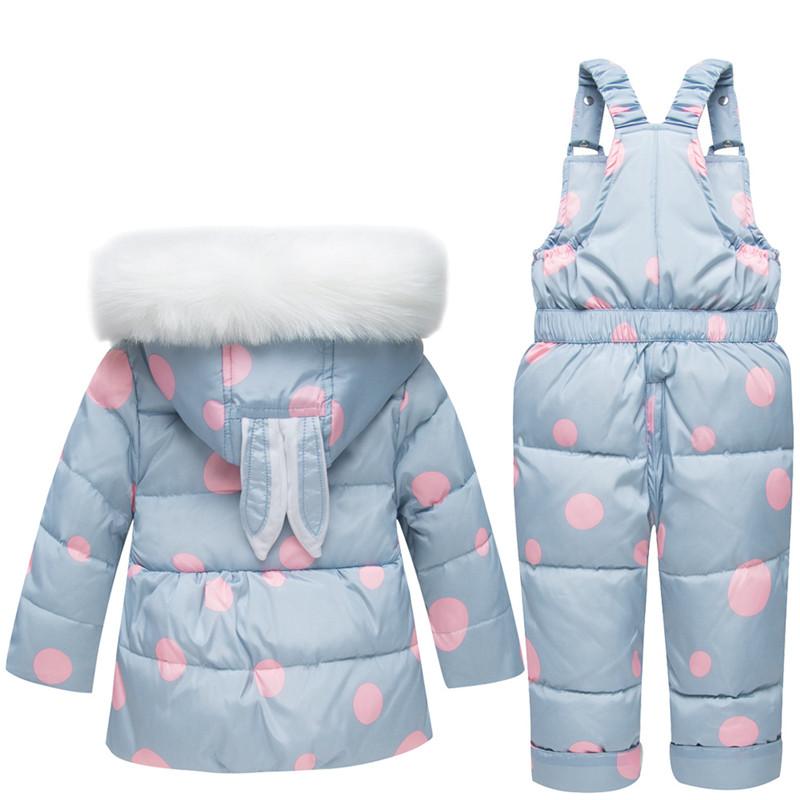 2018 Winter New Baby Down-Jacket+Strap Pant Overalls Clostume Suit for Girls Boys Warm Thicken Cartoon Print Clothes Sets calico print overalls