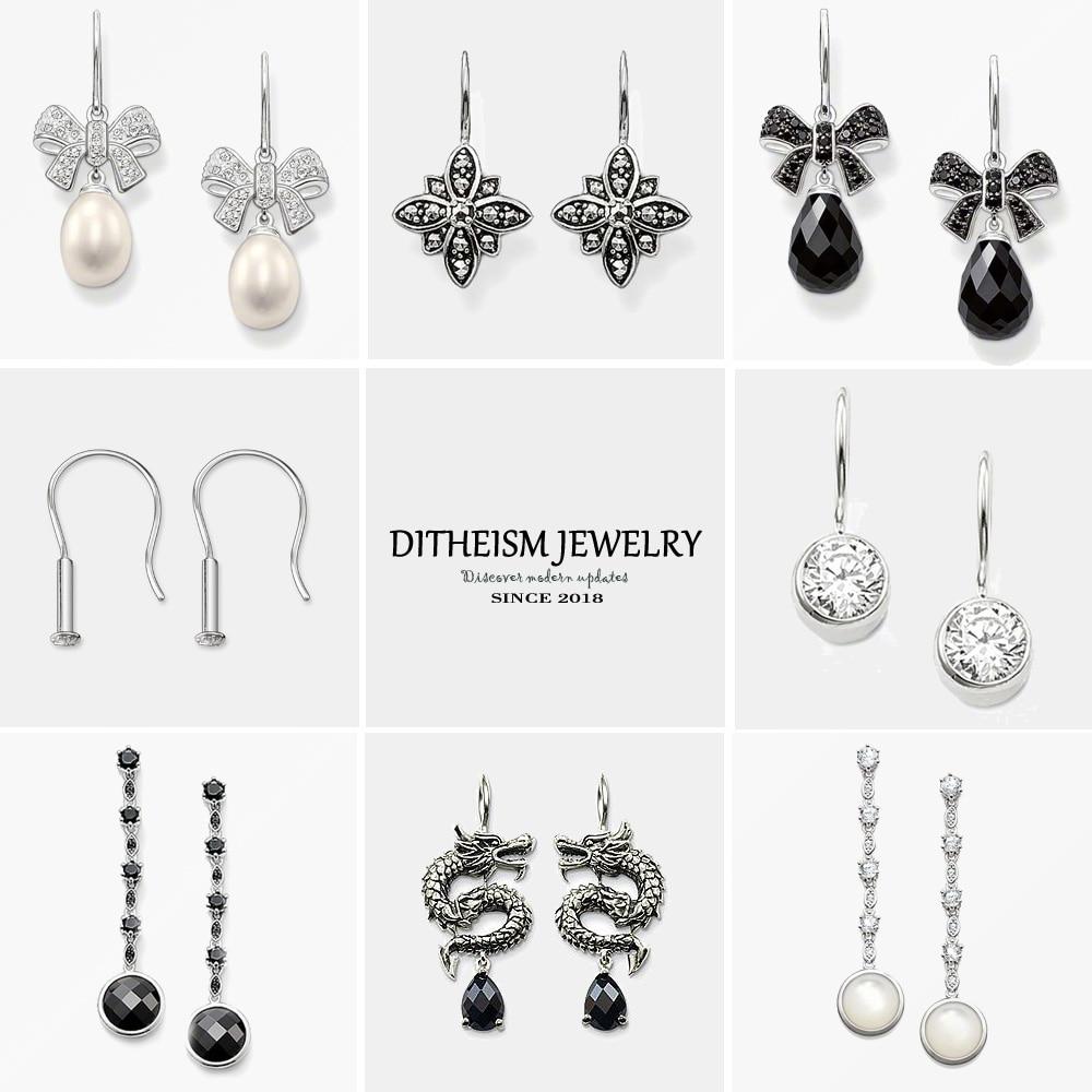 Marcasite Star Swan Neck Drop Earrings, 2018 New Rhinestone Fashion Jewelry Trendy 925 Sterling Silver Gift For Women