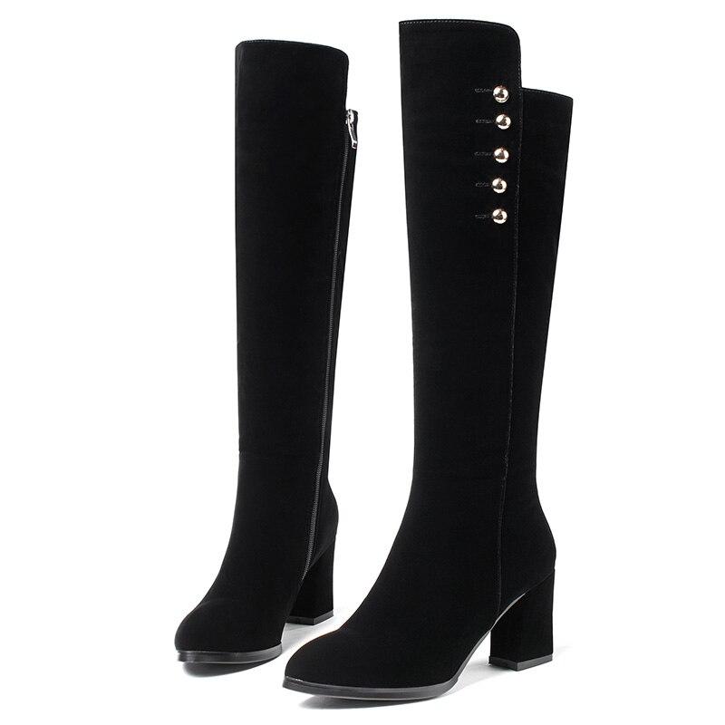 En Noir Femme Talons Flock Genou Femmes Charme Wetkiss Épais D'hiver Chaussures Bottes Métal Pour Glissière Haute À YeDHIWE29