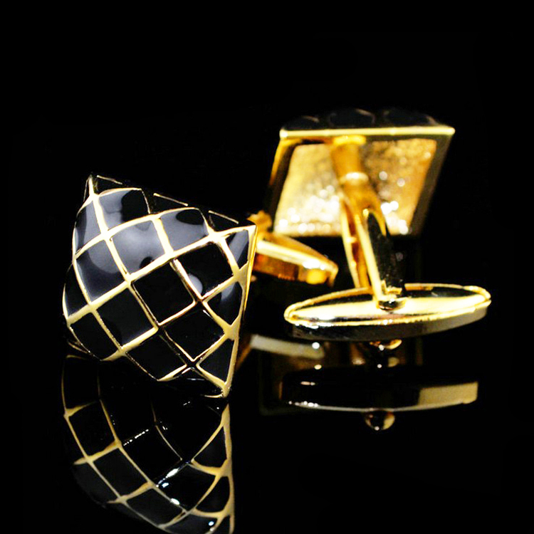Square Checked Black Gold Yellow Cuffs Men s Cufflinks Jewelry Stainless Steel Metal Cuff Nail Elegant