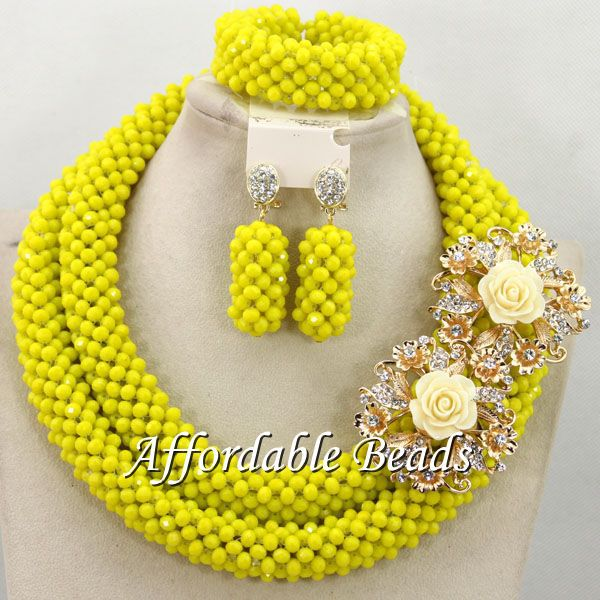 Yellow Women Jewelry Set Unique African Wedding Beads Popular Item Wholesale Free Shipping BN507 yellow nigerian beads set popular african jewelry set popular style wholesale free shipping bn555