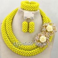 Yellow Women Jewelry Set Unique African Wedding Beads Popular Item Wholesale Free Shipping BN507