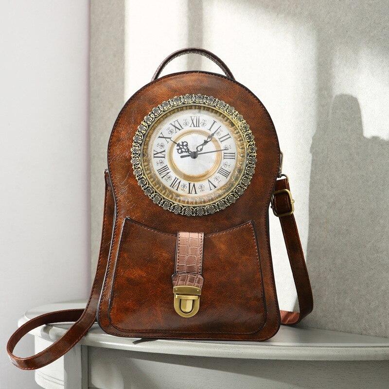 2019 New Double Shoulder Bag Creative Clock Retro Messenger Bag Luxury Handbags Women Bags Designer