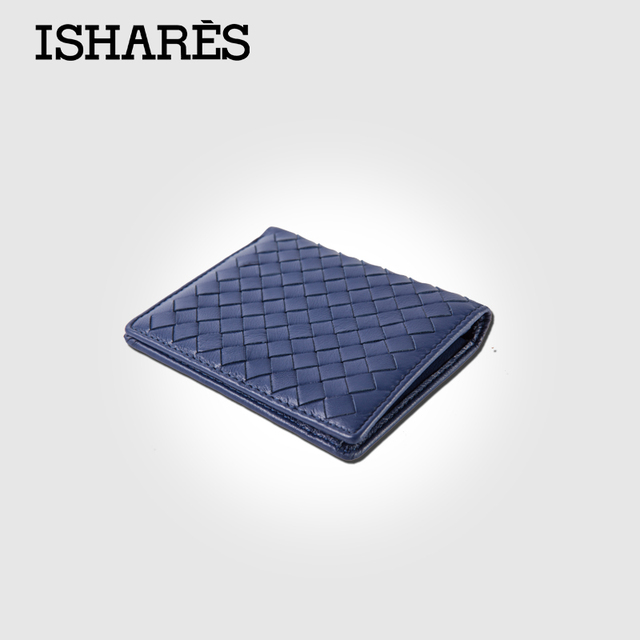 ISHARES high quality men short handmade weave sheep leather vertical wallets  fashion genuine leather purse for male IS6003B