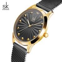 Shengke Black Fashion Bracelet Watches Women Luxury Stainless Steel Quartz Watch Reloj Mujer 2018 New SK