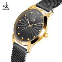 Shengke Black Fashion Bracelet Watches Women Luxury Stainless Steel Quartz Watch Reloj Mujer 2018 New SK