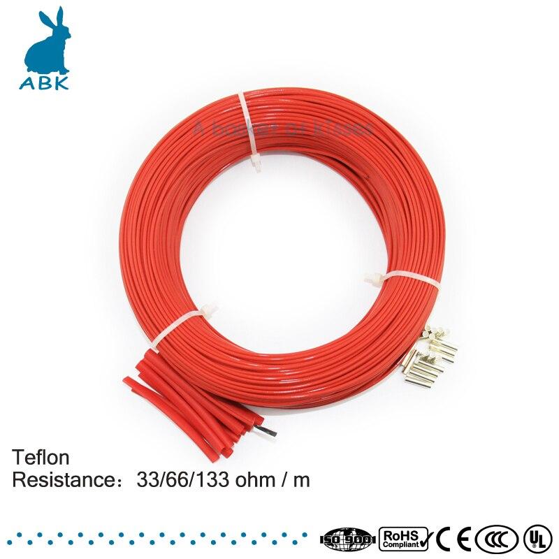 100 meter 33ohm 66ohm 133ohm Teflon PTFE kohlefaser heizdraht kabel ...