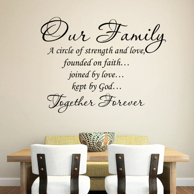 Our Family Together Forever Quotes Letter Pattern Design Pvc Removable Wall Sticker Wedding Decoration Vinyl Mural