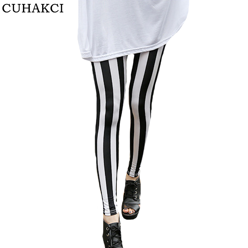 CUHAKCI Stripe   Leggings   Summer   Leggings   Women Floral Patterned Print Leggins Female Skull Grid Fitness   Leggings   High Waist Pants