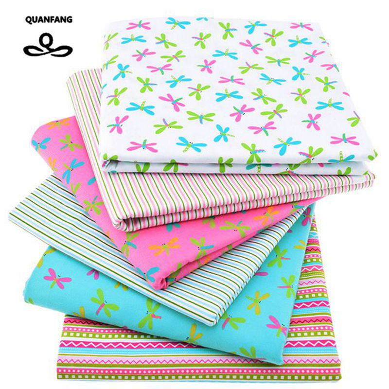Skriv ut Twill Cotton Fabric For Sy Dukke Baby Bedding Klær Kjoler Patchwork Dragonfly Tissue Material 6pcs / Lot 40x50cm