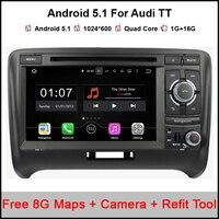 Android 5.1.1 автомобильный DVD GPS для Audi TT 2006 2012 Аудио Видео DVD plalyer с 3G WI FI Радио Bluetooth SWC V CDC OBD II + бесплатная карта