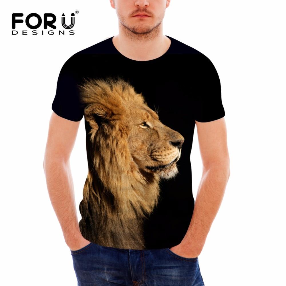FORUDESIGNS 참신 도모 사자 검정 T 셔츠 남자 의복 3D 인쇄 된 Hipster 티 동물 탑 T 셔츠 반소매 플러스 사이즈 S-XXL