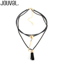 JOUVAL Fashion Choker Necklace Women Multi Layer Black Leather Chain Statement Necklaces Choker Neck Gothic Jewelry Accessory(China)