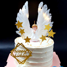 wings angel candle birthday party decorations cake decorating kids baby children girls supplies candles