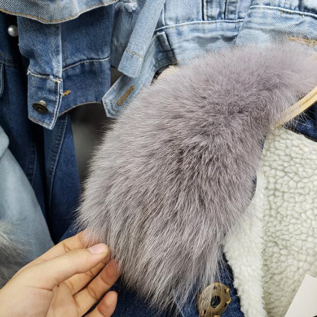 Manteau Fox Mode Agneau Nouveau Veste Épaissie Femmes De Agneaux Fourrure Col Jean Hiver Chaud Réel Manteaux Denim Bleu Laine 2018 pIw4Rqp
