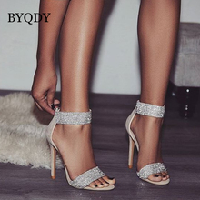 BYQDY Summer Sandals Women Fashion Faux Suede Rhinestone Thin Heels Party Sandals Elegant Ankle Strap Dress Shoes Size 35-40 недорого