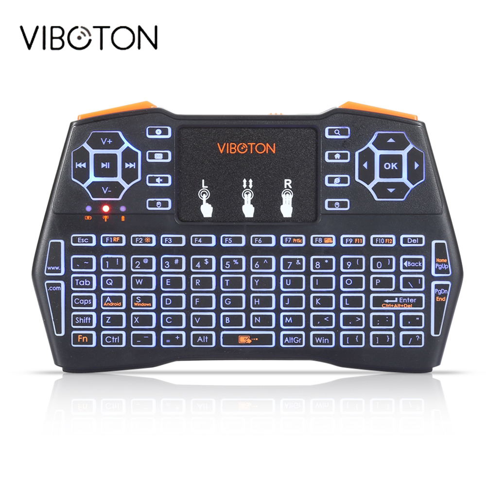 VIBOTON i8 Plus Handheld Backlight Mini Wireless Keyboard TouchPad For TV Box Gaming Air Mouse Remote Control Russian Spanish ucontrol mini ir remote control w 3 5mm jack for tv air conditioner set top box green