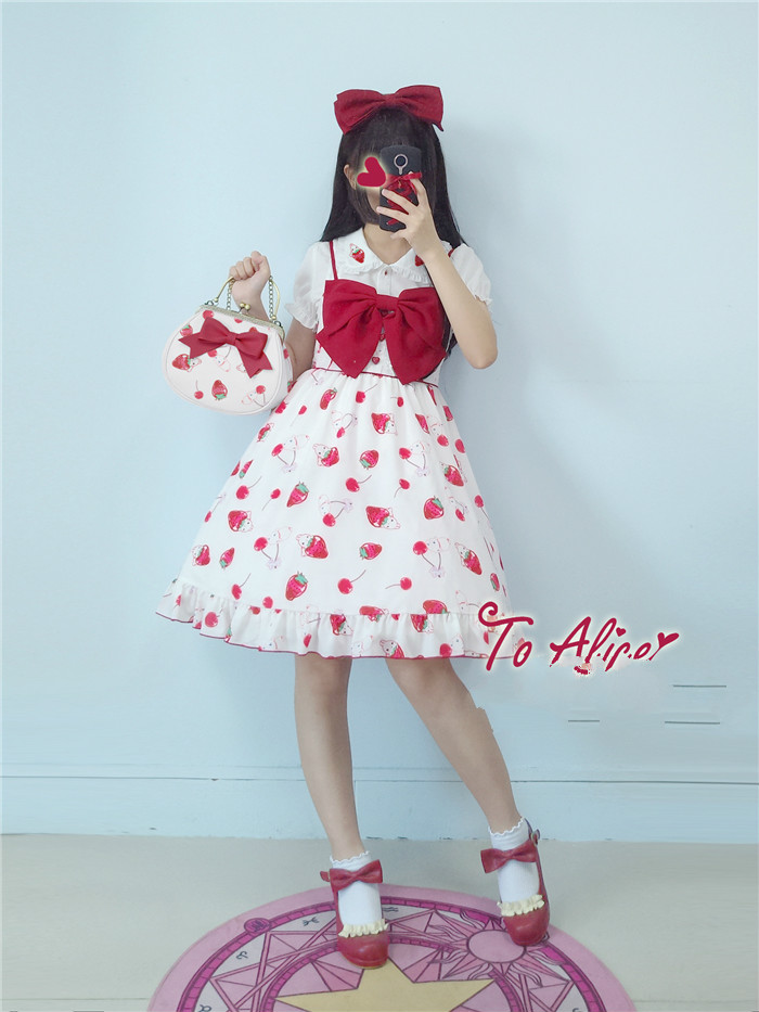 Princess sweet lolita bag To Alice Original cherry strawberry rabbit lovely bow tie gold handbag fashion women bag BAG226 manual tampo printing machine tampo printing machine hand tampo printing machine