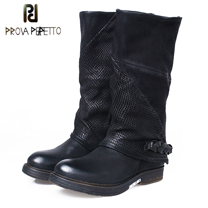 Prova Perfetto Autumn Winter New Band Mid-calf Knight Boots Thick Bottomed Side Zipper Martin Shoes Genuine Leather Flats Boots double buckle cross straps mid calf boots