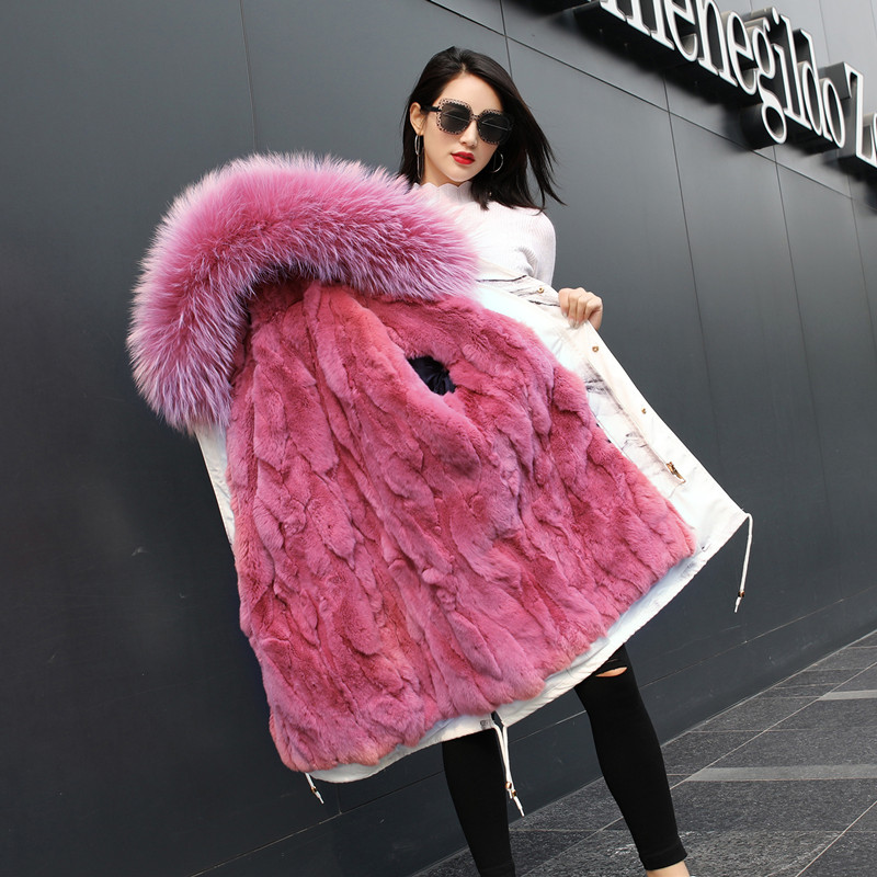 2018 New Arrival Cotton Long Women Winter   Parkas   Pink Real Liner Fur Coat Black Hooded Long Sleeve Jacket Coats for Women Female
