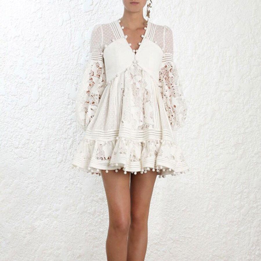 Luxury Brand 2018 High Quality Women White Dress Full Sleeve Boho Lace Pattern Hollow Out Dress Vestidos V neck Lady Mini dress