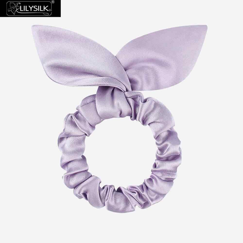 LilySilk 6PCS 100% di Seta Hairband Scrunchies con Orecchie di Coniglio Charmeuse Testa di Gomma Corda Accessori di Cura Morbido di Lusso