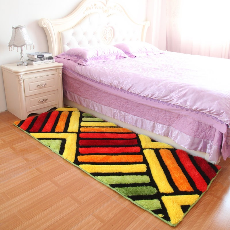 Pink bright area rug shag