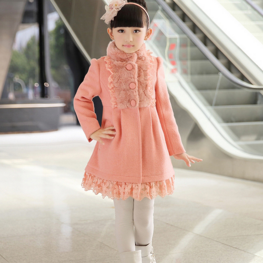 2017 winter girls outerwear pink wool jacket fur collar children winter coat girl clothes 6 8 10 12 14 years old AKC166001 2017 children wool fur coat winter warm natural 100% wool long stlye solid suit collar clothing for boys girls full jacket t021