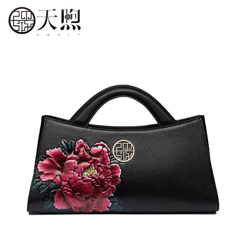 Pmsix 2019 New Women Genuine Leather bag Cowhide handbag Fashion Designer quality Embossing bag tote women handbags leather bag