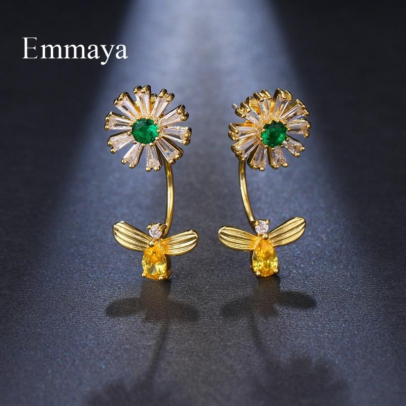 Emmaya Marque De Mode Brillant Fleur AAA Cubique Zircon Chrysanthème Boucles D'oreilles Pour Les Femmes De Mariage Fleuri D'anniversaire Bijoux Parti Cadeau