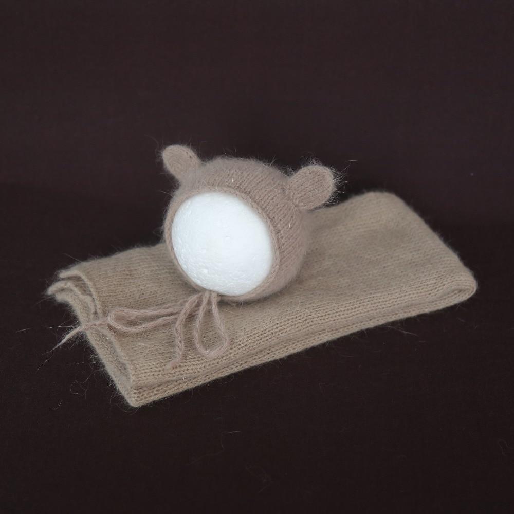 Khaki Newborn Textured Sweater Wraps bonnet set for Photography props Knitted stretch Jersey wrap blanket Crochet mohair hat set
